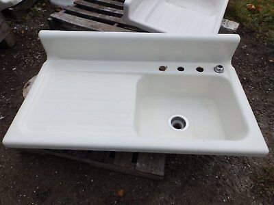 "Antique Cast Iron Porcelain 42"" Kitchen Farm Sink Drainboard Old Vtg 5039-15"
