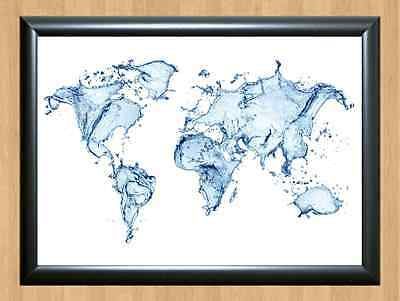 World Map Country Countries Blue Water Splash Art Decor A4 Print Photo Poster