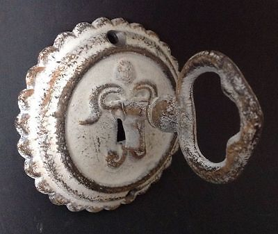 Round Cast Iron Vintage Door Plate Skeleton Key Coat Hook Antique Style Hardware