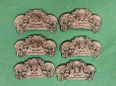 6 DRAWER PULLS EMBOSSED CAST IRON ORNATE VICTORIAN STYLE handles
