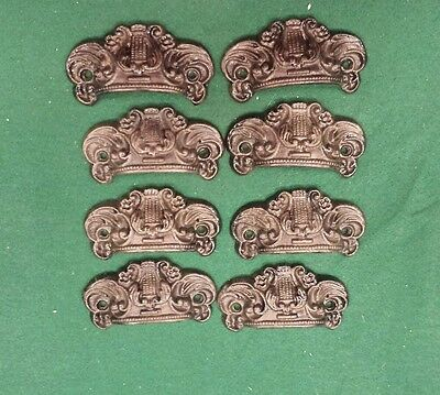 8 Drawer Pulls Embossed Cast Iron Ornate Victorian Style