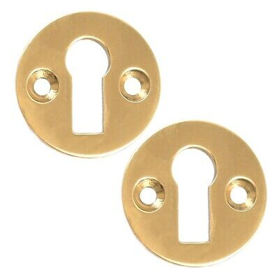 2X Brass Keyhole Cover+SCREWS SUPPLIED+Escutcheon Plain Design Plate Door Cover