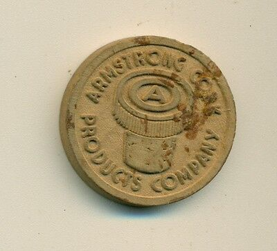 Vintage Armstrong Cork Products Company Good Luck Wooden Nickel