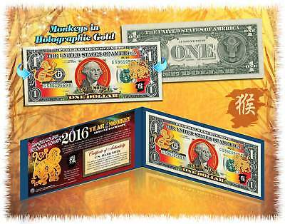 2016 Chinese CNY Lucky Money YEAR OF MONKEY Gold Hologram $1 BILL in Blue Folio