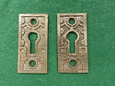 Pair Decorative Victorian Style Key Hole Covers  Cast Iron