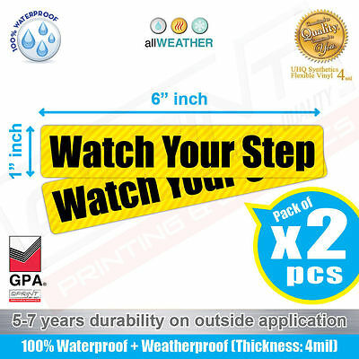 2pcs Watch Your Step Sign Vinyl Sticker Label Car Truck SUV Bus Safety Caution