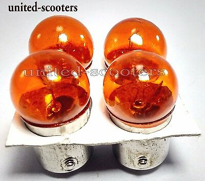 Vespa Px Lml Stella Indicator Bulb Orange Front And Rear Set Of 4 New V1723