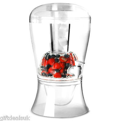 On Ice 16Pint Beverage Drinks Juice Dispenser Fruit Infuser Clear Party Wine Jar