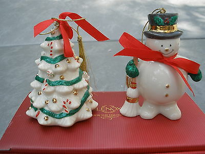 Lenox Holiday Ribbons Ornaments Set 2 Two Snowman Christmas Tree New Handcrafted