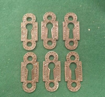 6 DECORATIVE VICTORIAN STYLE KEY HOLE COVERS  CAST IRON Unique shape