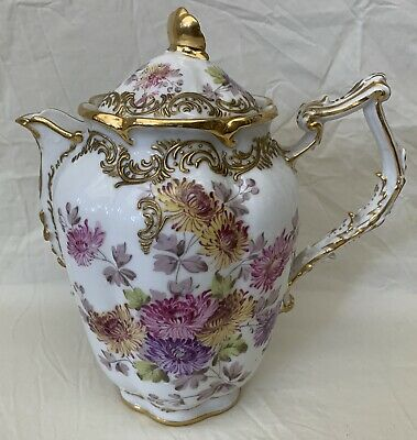 Antique French Old Paris 19 C Porcelain Hand Painted Tea / Coffee Pot  RARE