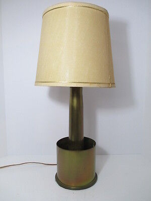 "Military Brass Artillery Shell Casing TRENCH ART Electric Table Lamp 23"" Works"