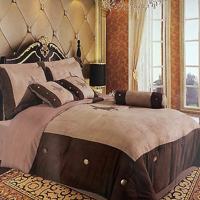 Embroidery Printed Texas Western Horse Luxury Comforter Suede 7 Pieces Set King