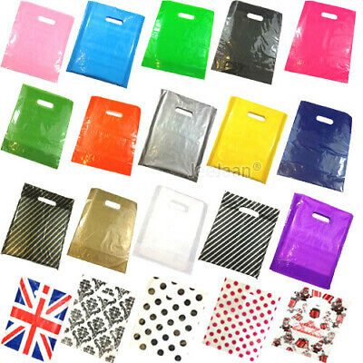 Coloured Plastic Carrier Bags Gift Shop Strong Patch Handle Bag Boutique Retail