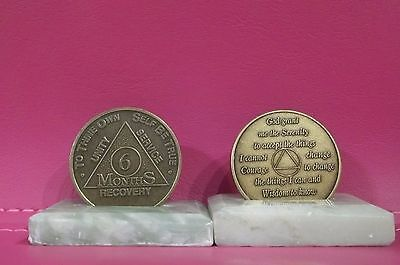 Recovery coins 6 Month AA Bronze Medallion tokens sobriety affirmation birthday