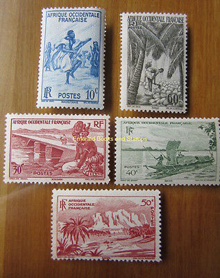 EBS French West Africa Afrique Occidentale Française 1947 Colonial Scenes MNH**