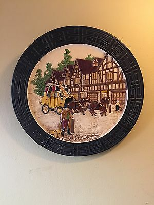 """Wonderfull Pottery Wall Plauque 17.5"""" Diameter Made By Bretby England"""