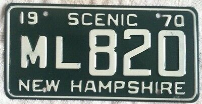VINTAGE 1970 NEW HAMPSHIRE LICENSE PLATE TAG Great Condition Free Shipping!