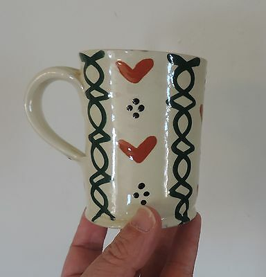 Vintage German Pottery Mochaware Slip Decorated Amish Coffee Mug Hand Painted