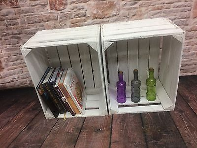 2 Vintage/Rustic Wooden White Washed Apple Crates, ideal storage boxes/display