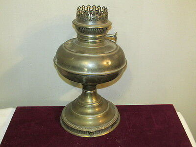 Antique Brass Table Oil Lamp Converted to Electric VFC No Makers Marks