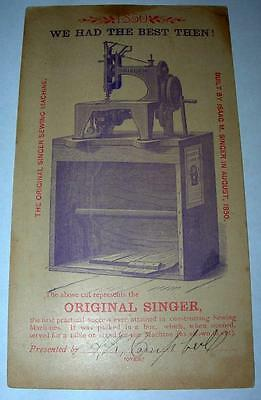"Vintage 1885 Singer Trade Card ""then And Now""  ""free Shipping"""