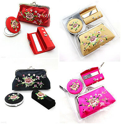 Chinese Handmade Embroidery Mirror, Lipstick Case, Cosmetic Bag Gift Set - Pick