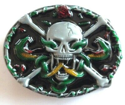 Belt Buckle - Skulls and Crossbones with Snakes and Roses Oval Buckle on Enamel