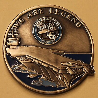 "USS Enterprise (CVN-65) Big ""E"" The First And Finest Navy Challenge Coin     BL"