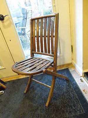 Antique Slatted Wooden Folding Deck Chair Rounded Seat Shabby Chic Dark Finish