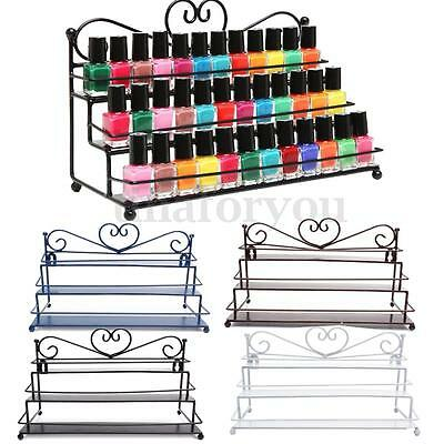 Nail Polish Rack Organizer 3 Tiers Heart Metal Wall Mounted Stand Holder Display