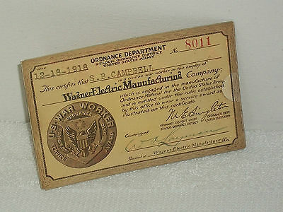 1918 Ordnance Dept. US War Worker St.Louis District US Army Wagner Electric