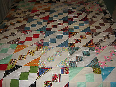 "Handstitched Vintage PATCHWORK QUILT TOP 72""x82"" with 1970s fabric"