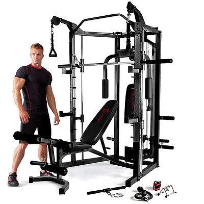 Marcy Eclipse RS7000 Deluxe Smith Machine Home Multi Gym with Weight Bench