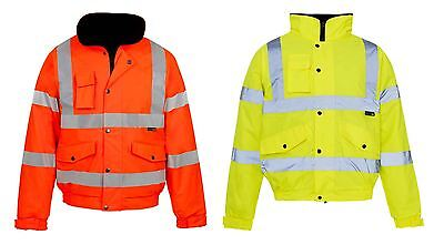 New Mens Ladies Security Work Waterproof Bomber Jacket Hi Viz Padded Hooded Coat