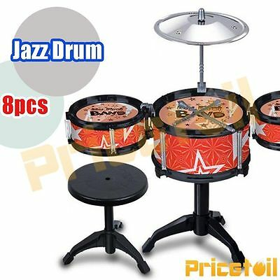 OZ Red Kids Drum Kit Music Set Children Mini Big Band Jazz Musical Play Toy Gift