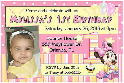 BABY MINNIE MOUSE 1ST BIRTHDAY INVITATIONS Design