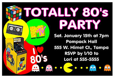80 S Party Invitations For Birthday Etc Digital 6 99 Picclick
