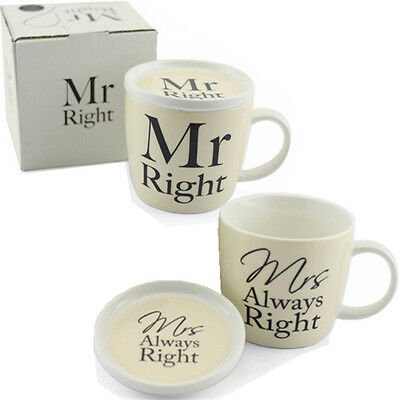 Mr Right Mrs Always Mug With Coaster Lid Gift Set Box Coffee Tea Cup Kitchen New