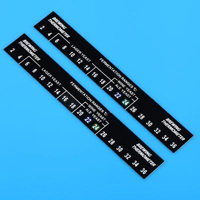 2 x Digital LCD Stick On Thermometer 2c To 36c For Home Brew / Aquarium