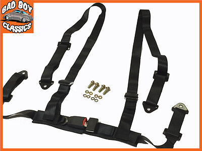 4 Point Black Racing Seat Belt Harness Ideal For LANDROVER / OFFROAD