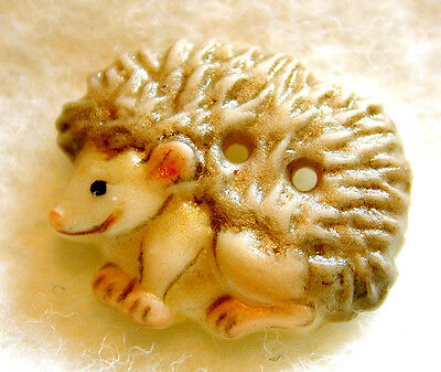 Handcrafted Porcelain Button Realistic Shape Hedgehog  FREE US SHIPPING 3/4x5/8