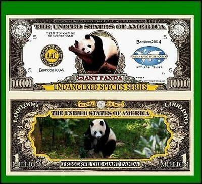 15 Factory Fresh Novelty Giant Panda Million Dollar Bills