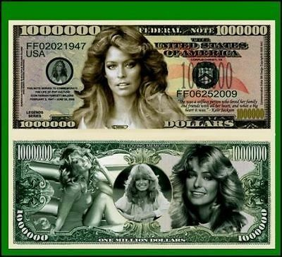 100 New Factory Fresh Novelty Farrah Fawcett Million Dollar Bills