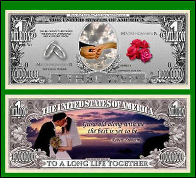 100 Factory Fresh Novelty Wedding Million Dollar Bills - New