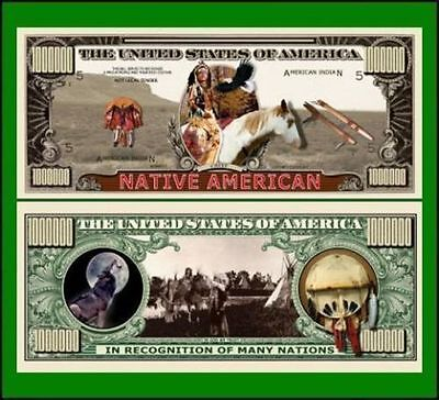 50 Factory Fresh Novelty Native American Million Dollar Bill
