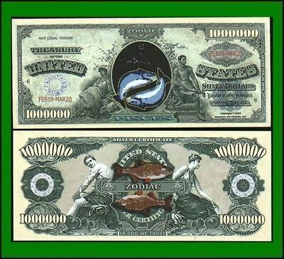 50 Factory Fresh Novelty Pisces Zodiac Million Dollar Bills