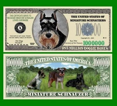 50 Factory Fresh Novelty Miniature Schnauzer Million Dollar Bills-New