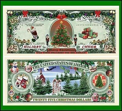 15 Factory Novelty Fresh Holiday Cheer 25 Dollar Bill
