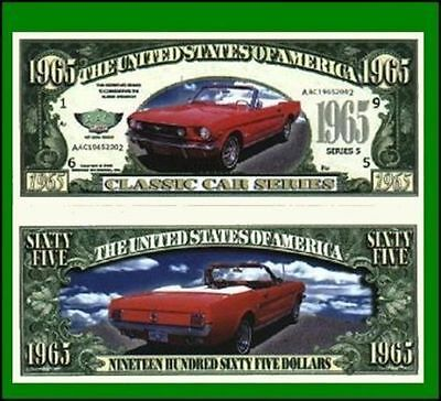 25 Factory Fresh Novelty 1965 Mustang Convertible Dollar Bills New